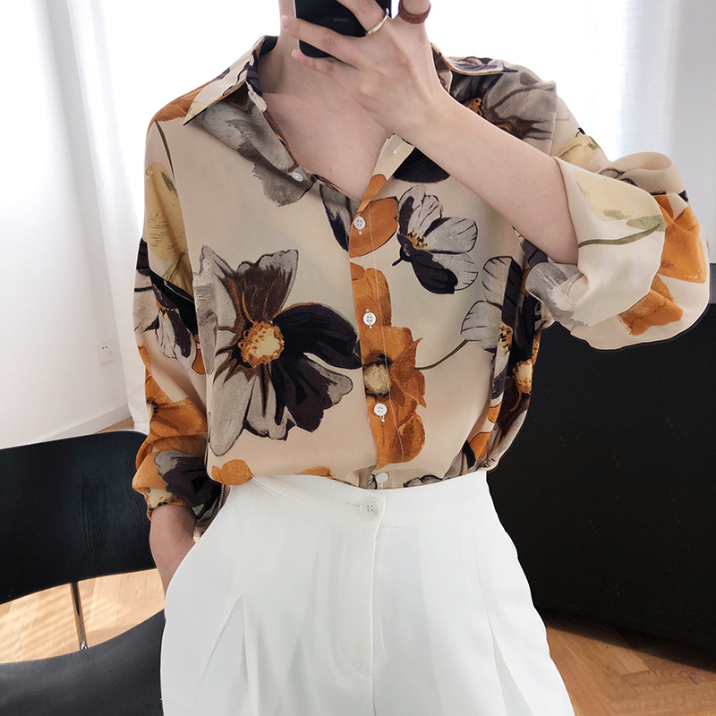 Oil Painting Printed Light Sunscreen Chiffon Shirt 16