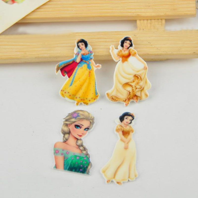 10 Pcs Kawaii Snow White Princess Planar Resin Cabochons Accessories Flat Back Resin For Clothing Party Holiday DIY Decoration