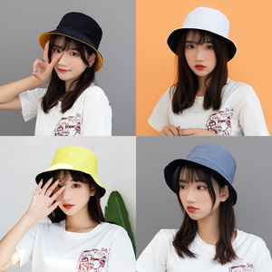 Monochrome reversible hat male and female Korean version of the tide student fisherman hat female summer street bifacial basin h