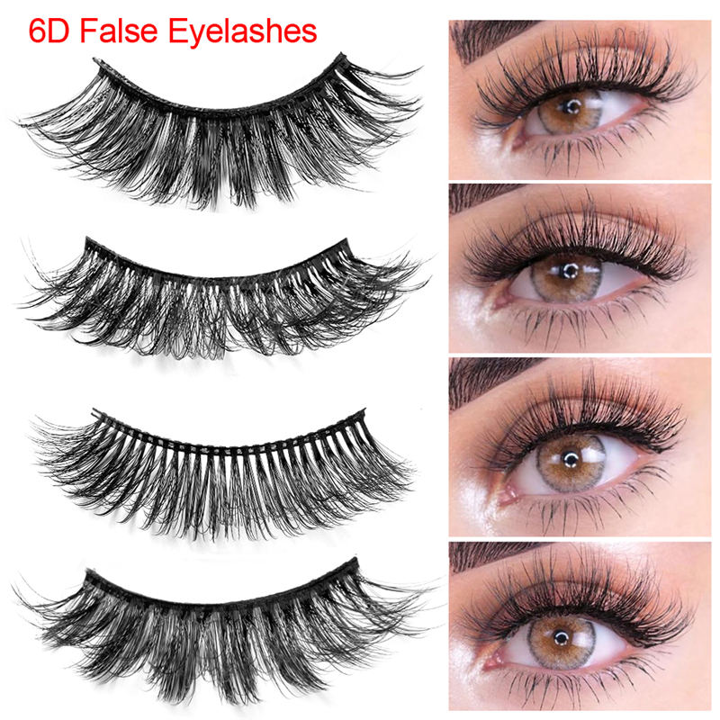 New 6D Faux Mink Hair Soft False Eyelashes Real Mink Eyelashes Fluffy Wispy Thick Lashes Handmade Eye Makeup Extension Tools
