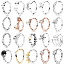 NEW 2019 100% 925 Sterling Silver Rose Gold Shine Love Script Shards of Sparkling Ring for Europe Women Original Fashion Jewelry(China)