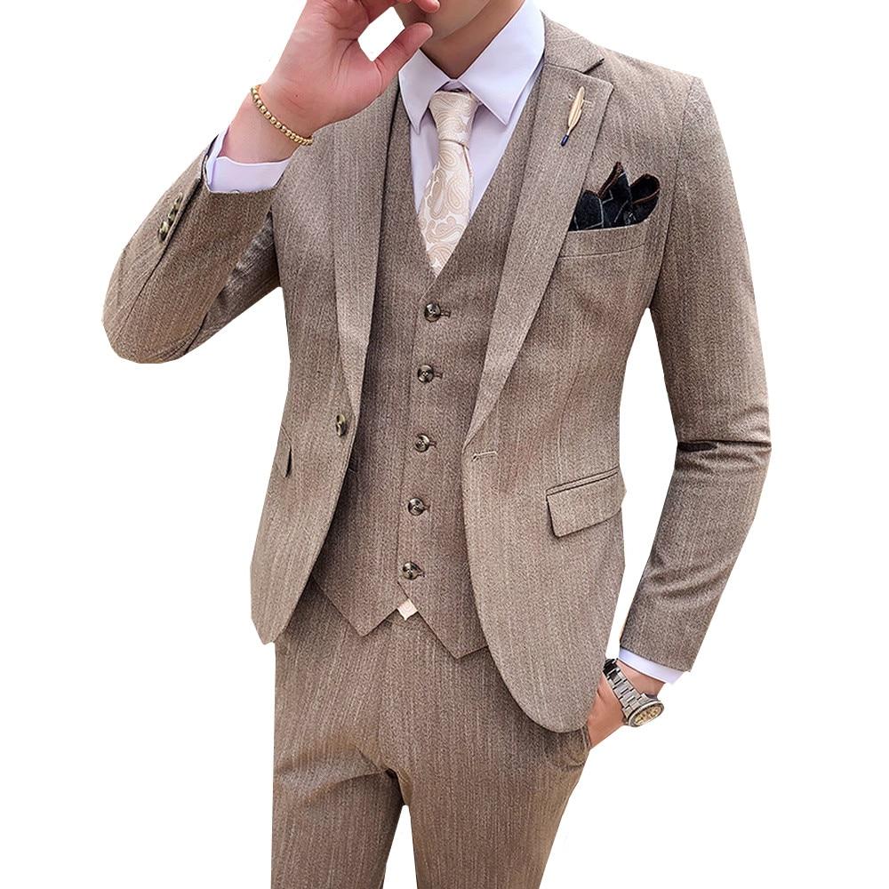 3 Pieces Suit Male Wedding Slim Fit Mens Suits Elegant Formal Work Business Casual Groomsman 3pcs Single Buckle Dress Suit