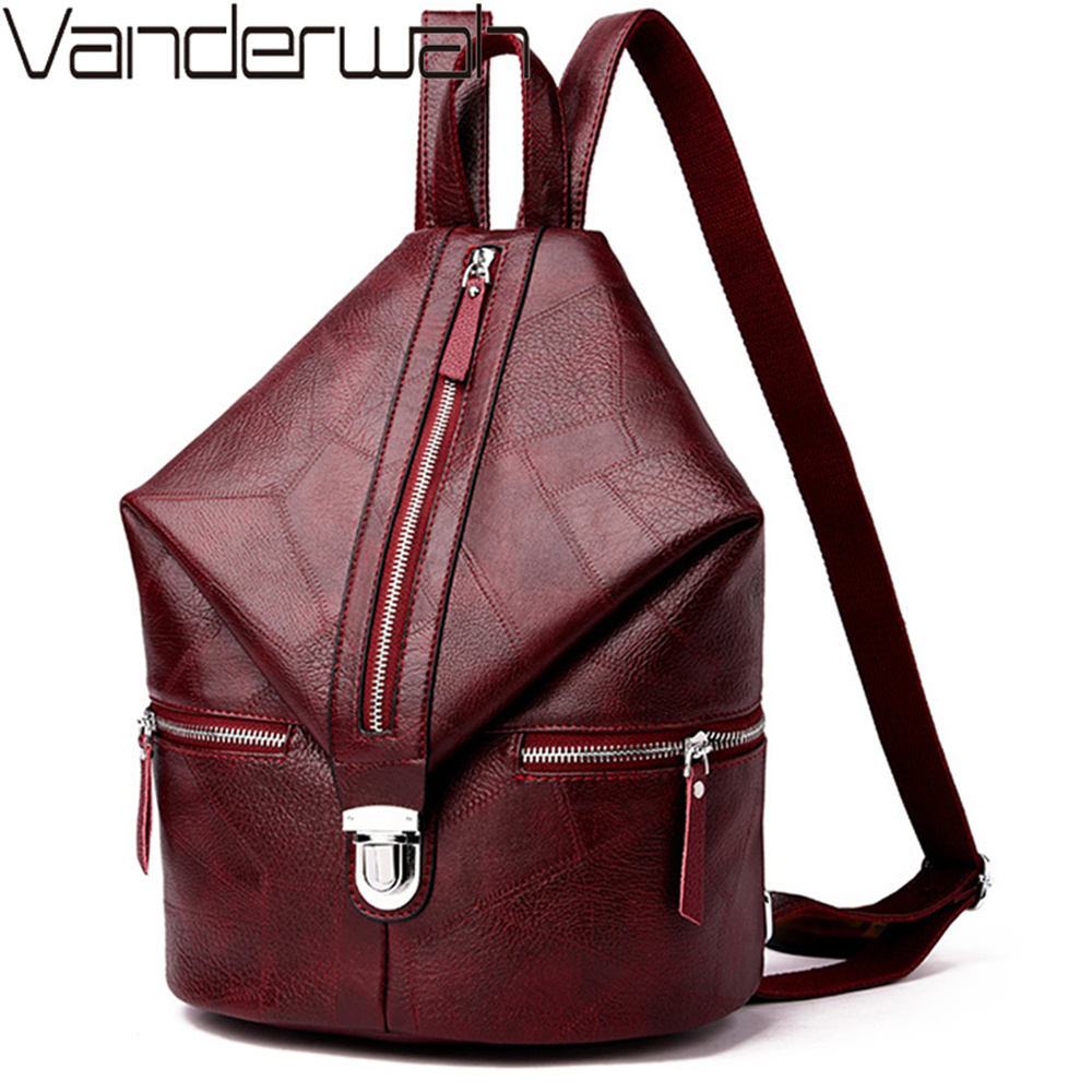 2019 Vintage Women Backpack High Quality Youth Leather Backpacks For Teenage Girls Female School Bag Bagpack Mochila Feminina
