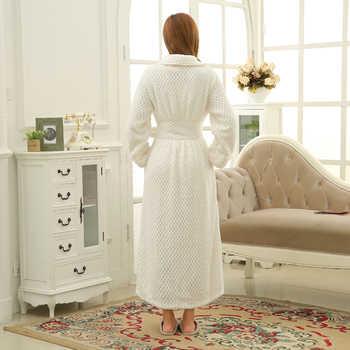 Women Winter Thermal Long Bathrobe Lovers Thick Warm Coral Fleece Kimono Bath Robe Plus Size Nightgowns Bridesmaid Dressing Gown