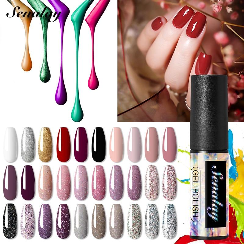 Senalay UV Nail Gel Shiny Platinum Gel Nail Polsih For Manicure Nail Art Need Base Top Coat LED Lamp 5ml Soak Off Gel Varnishes