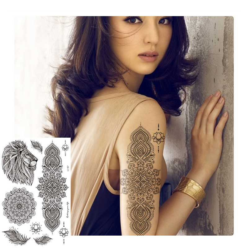 Temporary Tattoos Lace Sleeves Wolf Sticker Sexy Rose Flower For Men Women Arm Waterproof Fake Tattoo Stickers Body Art Hot