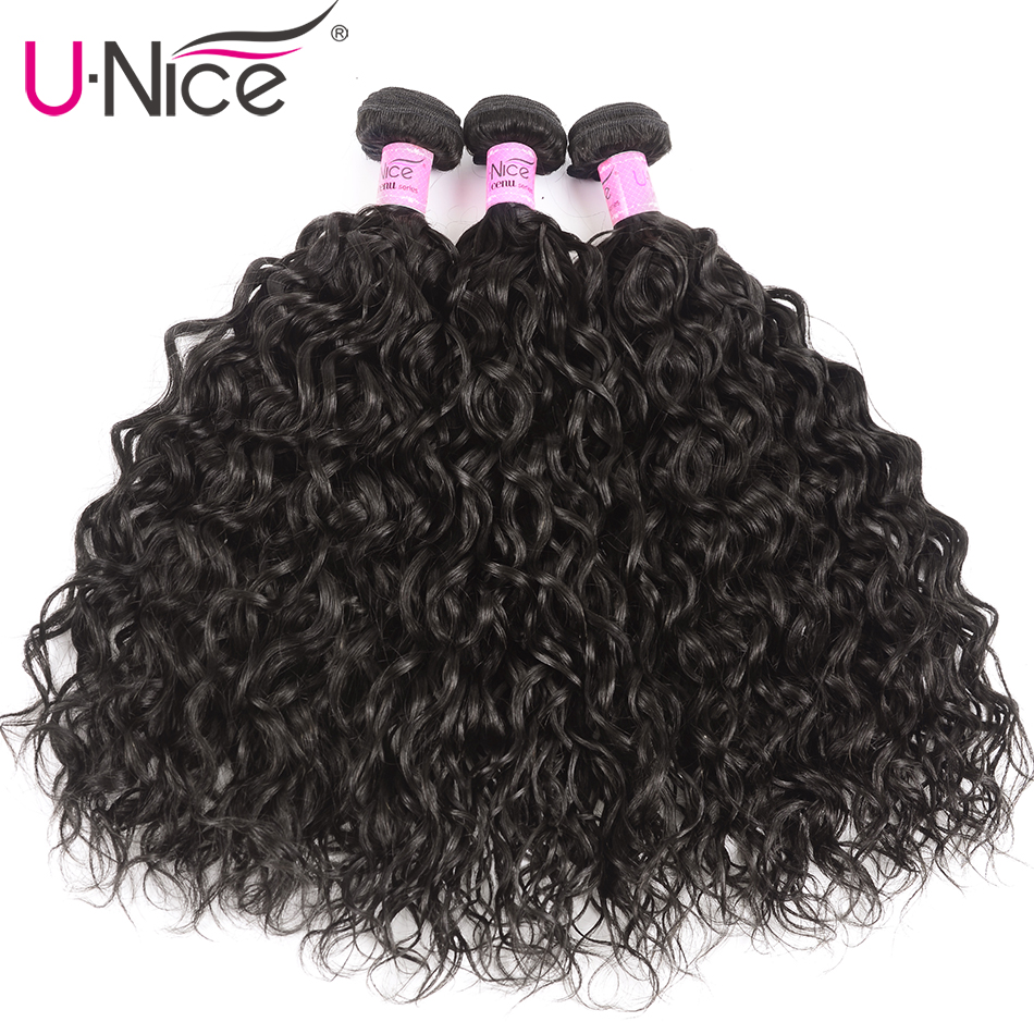 Unice Hair Malaysian Water Wave Hair Weave Bundles 3 PCS 8-26 Inch 100% Human Hair Weaves Natural Color Remy Hair Extensions