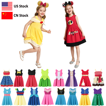 Baby Girl Mickey Dress Up Dress Kids Ariel Cosplay Costumes Summer Toddler Princess Snow White Cinderella Elsa Anna Belle Moana girl princess dress rapunzel dress up baby snow white belle cinderella cosplay costume for party birthday halloween