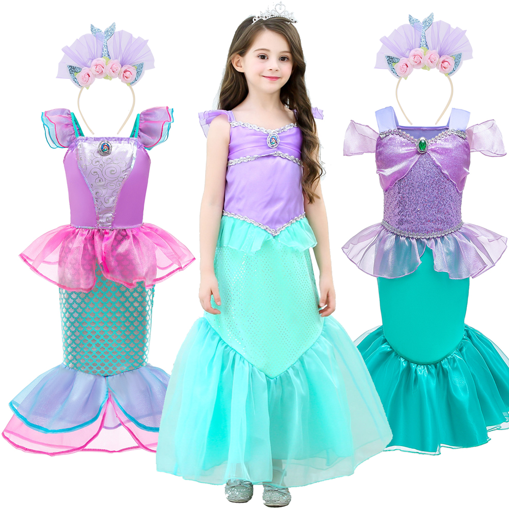 Girls Little Mermaid Ariel Princess Dress Girls Costumes Anime Baby Girl Mermaid Dress Up Sets Clothing Cosplay Costumes