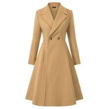 Женское шерстяное комбинированный Тренч пальто зима осень элегантное ретро пальто с длинным рукавом воротник с отворотом однотонная посадка Длинный винтажный Тренч Теплый