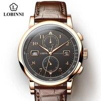LOBINNI-Reloj de negocios para hombre, reloj de pulsera mecánico masculino, resistente al agua, de cuero, de 50M, con indicador de Fecha