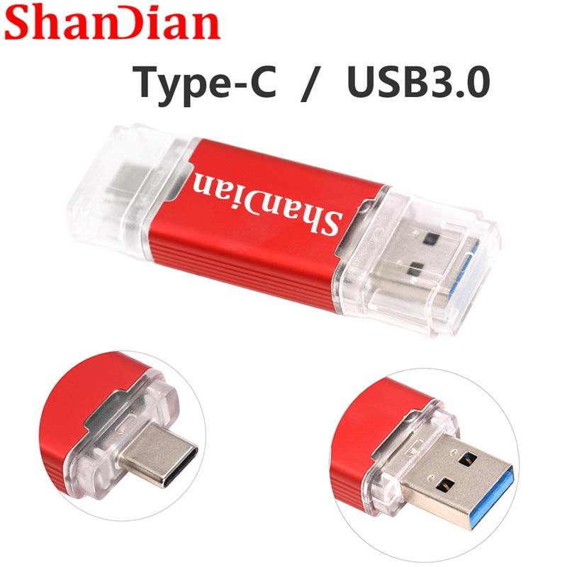 C Type USB 3.0 Flash Drive Plastic Pen Drive 16G 32G  64G 128GB For Computer USB Flash Drive / C-type Interface 10 PCS Free Logo