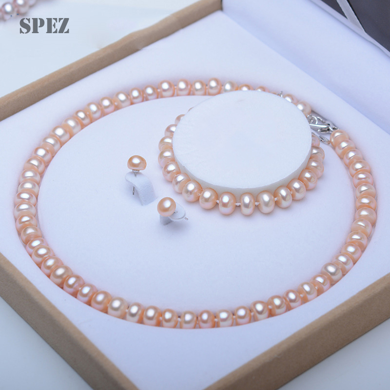 Image 2 - Pearl Jewelry Sets 100% Natural Freshwater 925 Sterling Silver Jewelry Pearl Necklace Earrings Bracelet For Women Gift SPEZ-in Jewelry Sets from Jewelry & Accessories