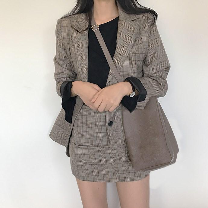 2019 Vintage Blazer Jackets And Mini Skirt 2 Pieces Sets Plaid Blazer Suits Button Korean Fashion Women Office Two Piece Set