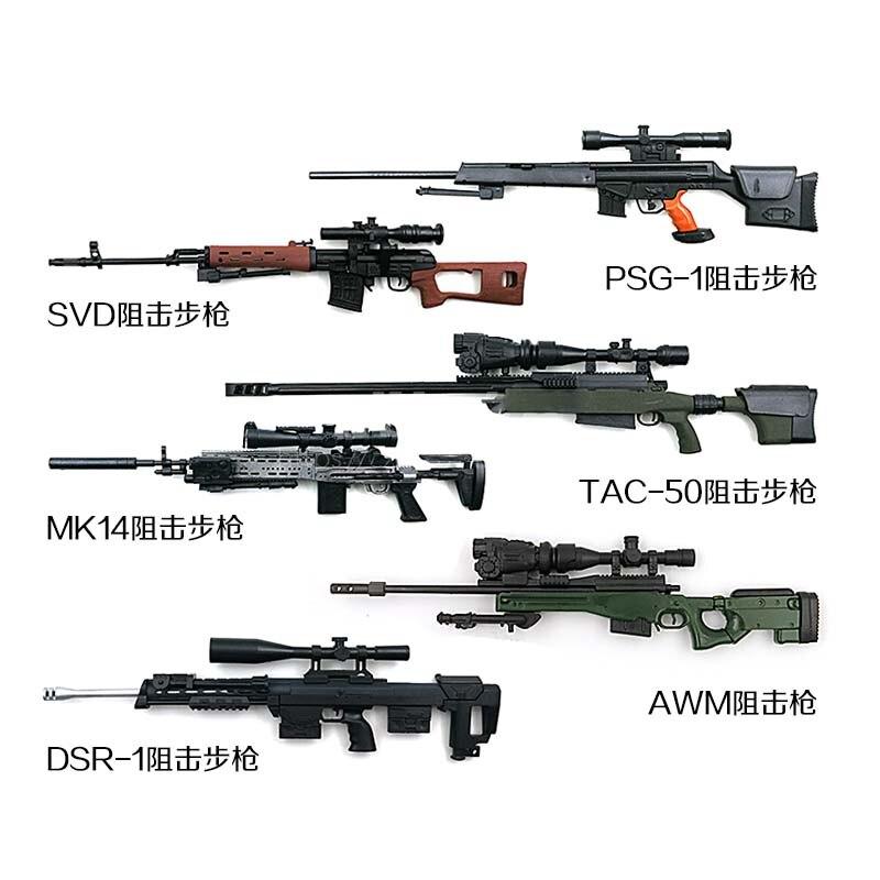 8pcs 1:6 4D Assembled Sniping Rifle Firearms Series PVC Model Kit DIY Weapon Gun