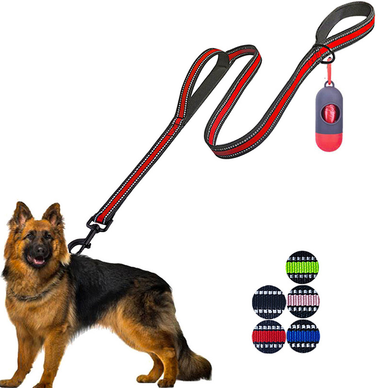 Double Handle New Dog Harness Leash,5 FT Dog Leashes with Comfortable Padded ,Reflective Dog Leashes for Small Medium Large Dogs 1