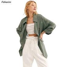 Green Windbreak Women Fall 2019 Fashion Single Breasted Long Sleeve Trench Coat Harajuku Korean Style Vintage Trench Coat Winter