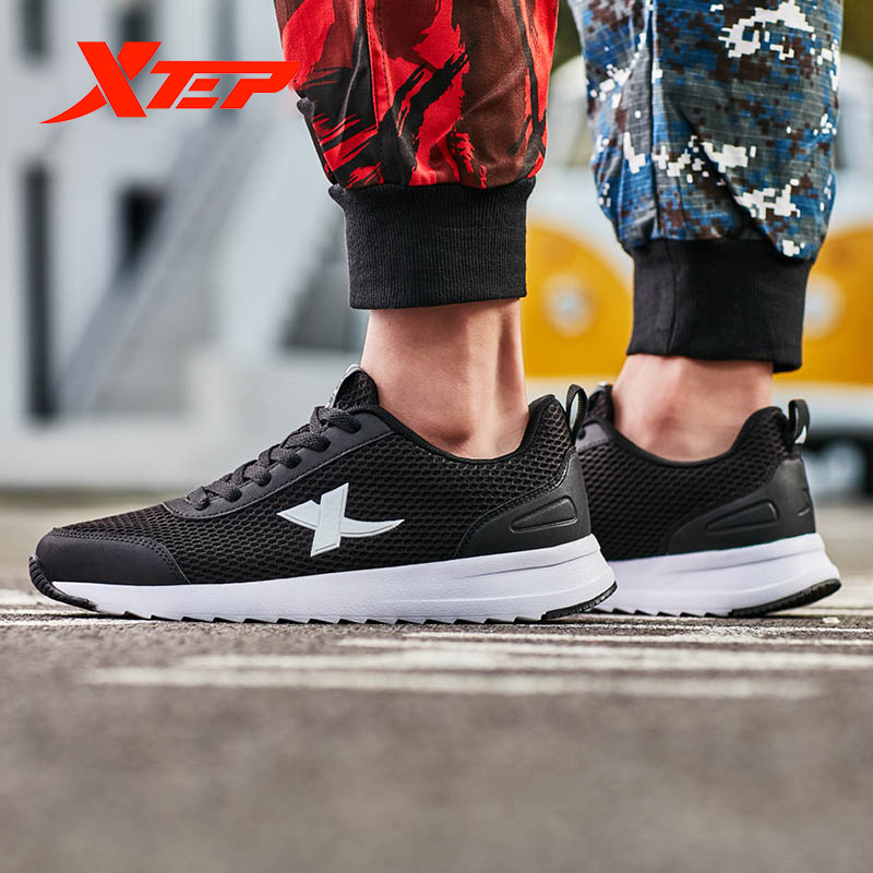XTEP Men's Sport Shoe Athletic Summer Mesh Breathable Beige Blue Black Sneaker Comfort Male Running Shoes New 881219329509
