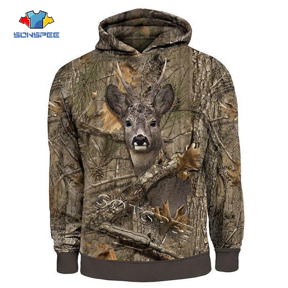 SONSPEE Men's Hoodie Camo HUNTING ANIMALS deer 3D Hoodies Women Fashion Streetwear Hooded Sweatshirt Long Sleeve Casual Pullover