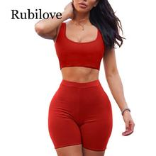 Rubilove 2 Piece Set Women Crop Tops and Biker Shorts Sweat Suits Sexy Club Outfits Sports Two Tracksuit Matching Sets