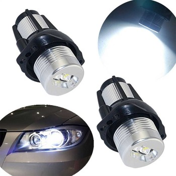2pcs Angel Eyes Halo LED Marker Light Bulb LED Auto Fog Lamp Decorative Lights Car Lamps DC 12V 6000K For BMW 3 Series E90 E91 image