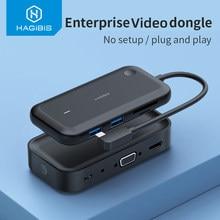 Hagibis Draadloze Display Zender Met USB-C Hub Ultra Lage Latency Business Hdmi-Compatibel Dongle 4K Voor Ios Android netflix