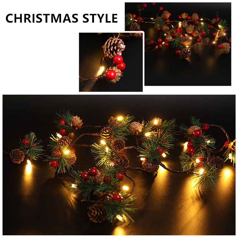 2m 20 Led Copper Wire Pine Cone Flowers Led String Lights Christmas Decorative Outdoor Bedroom DIY Garland Holiday Fairy Lights
