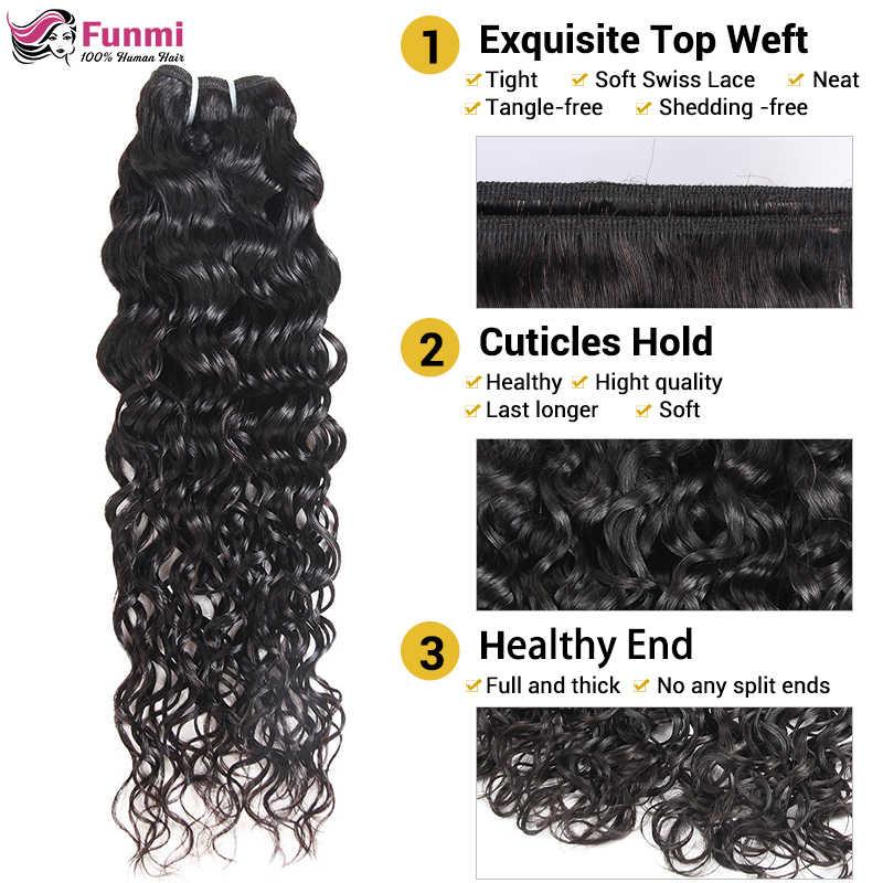 Kaufen Wasser Welle Bundles Erhalten Freies Schließung Raw Indisches Haar Bundles Unverarbeitete Menschliches Haar Bundles Funmi Reines Haar Extensions