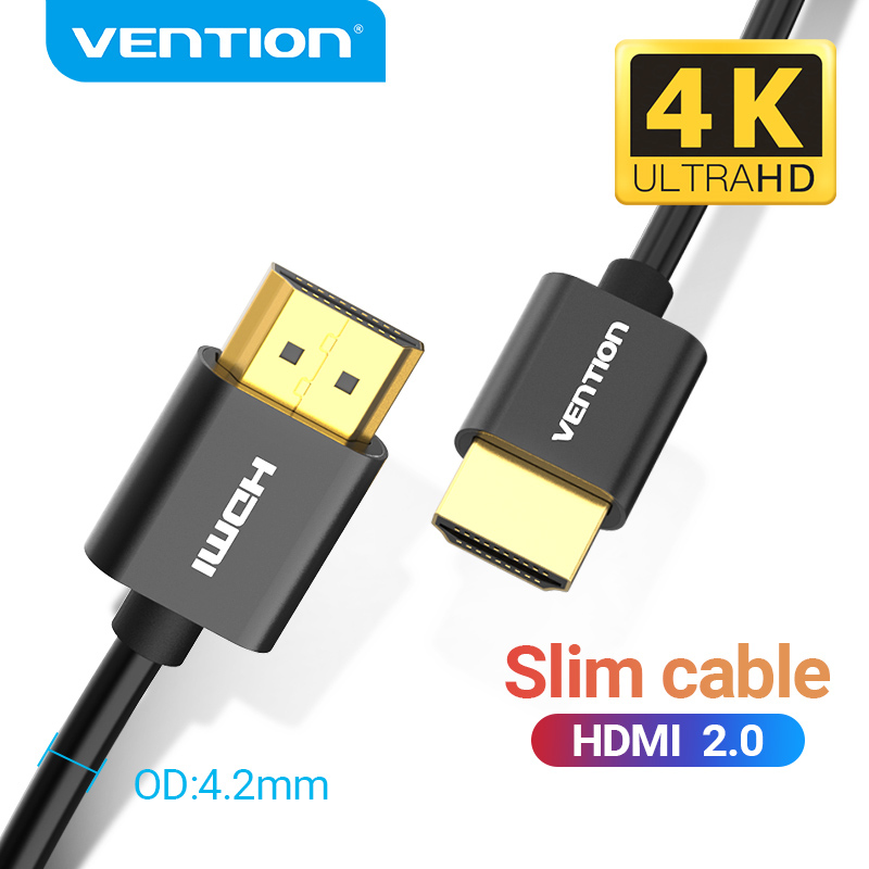 Vention ultra fino hdmi cabo 4k 3d hdmi 2.0 para xbox ps3/4 pro conjunto-caixa superior nintend switch projetor hdtv cabo hdmi-compatível
