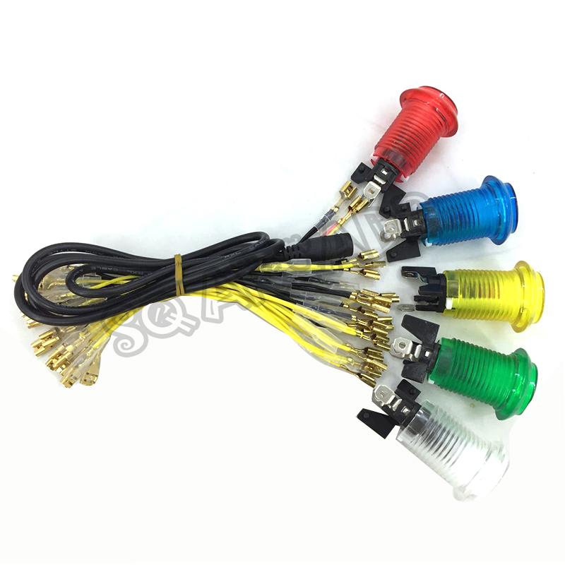 6.3mm Arcade LED Push Button 5v/ 12v Illuminated Light Bulb Cable Set Quick 2pin Cables Connect Amplifier Charger For Sale