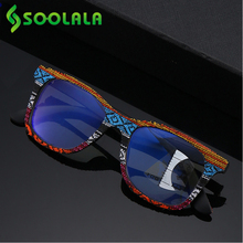 SOOLALA Multifocus Progressive Anti Blue Light Reading Glasses Women Men Near Far Sight Woodgrain Hyperopia Reading Glasses