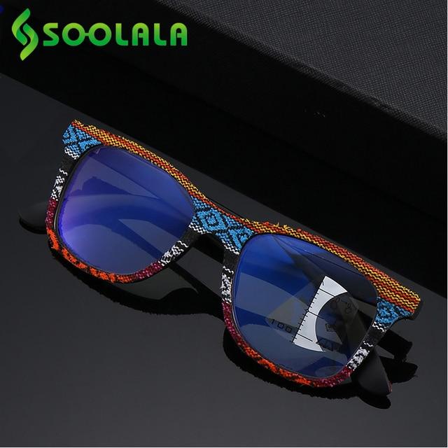 SOOLALA Multifocus Progressive Anti Blue Light Reading Glasses Women Men Near Far Sight Woodgrain Hyperopia Reading Glasses