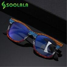 SOOLALA متعدد التركيز التدريجي مكافحة الضوء الأزرق نظارات للقراءة النساء الرجال بالقرب من بعيد البصر الخشب قصر النظر نظارات للقراءة