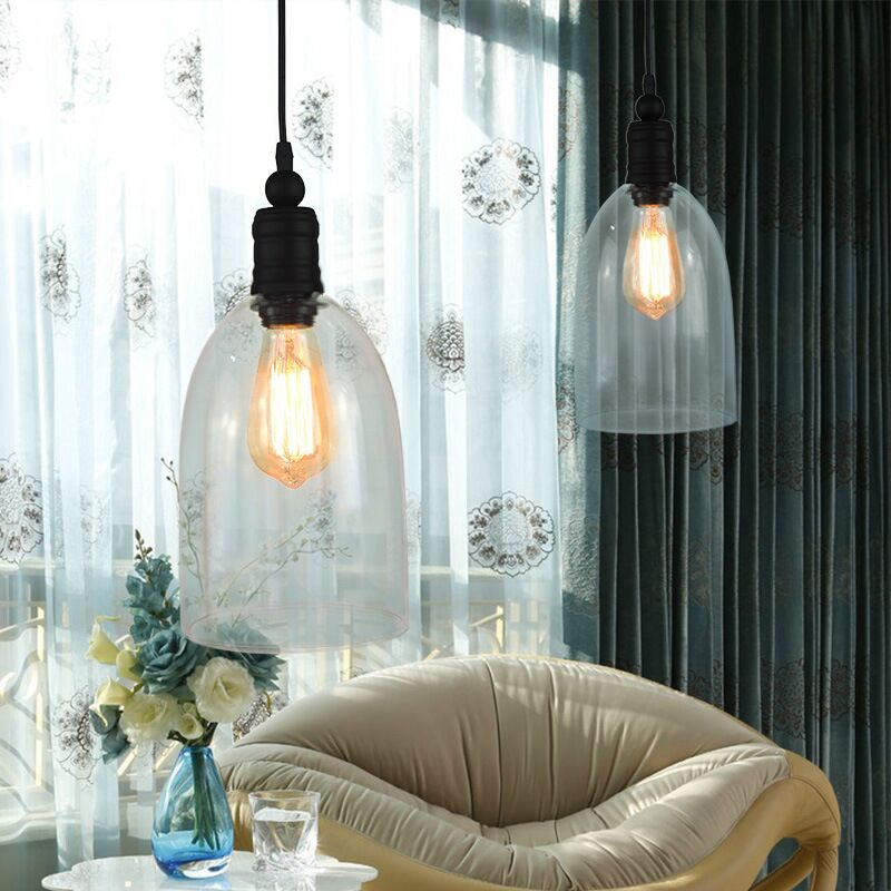 art deco modern LOFT Industrial clear glass shade Pendant Lamp with Edison Light bulb for coffee/shop/bar/dining room/kitchen