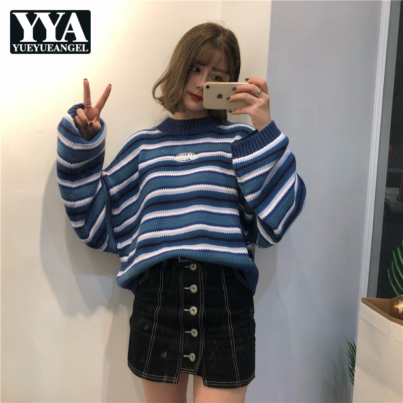 Winter New Womens Oversize Sweaters 2019 New Loose Fit Harajuku Sweaters Female Sweet Vintage Striped Knitted Pullover Sweaters