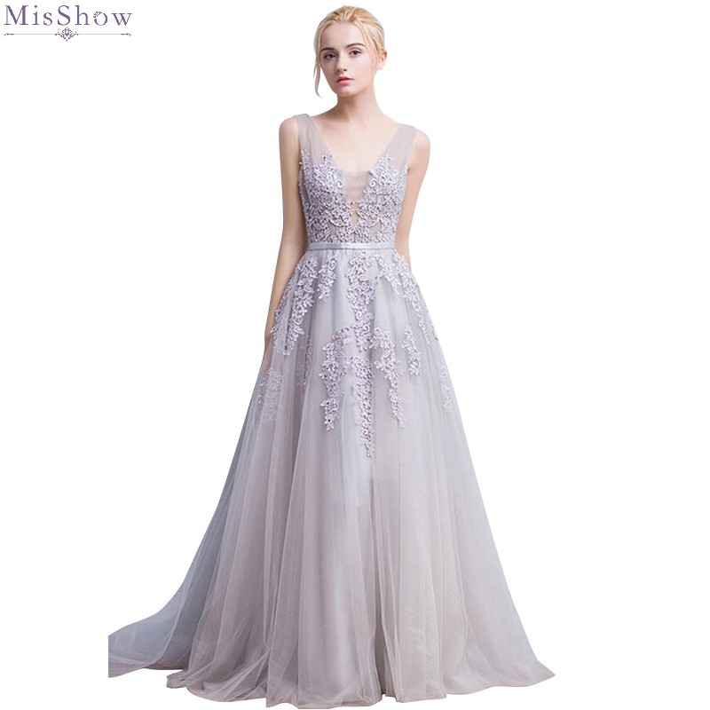 Long Silver Lace Evening Dress A Line Sleeveless Formal Party Gown For Women Sexy V Neck Tulle Applique Robe De Soiree 2020