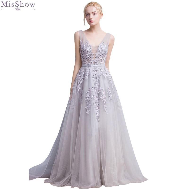 Misshow вечернее платье серебряное длинное фатиновое торжественное вечерние платье расшитое бисером 2019 ТРАПЕЦИЕВИДНОЕ ПЛАТЬЕ С v образным выр