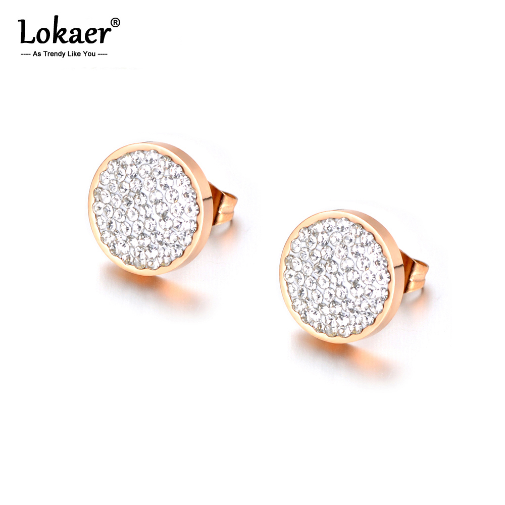 Lokaer Jewelry Rose Gold Color Stainless Steel 3 Colors Clay Crystals Stud Earrings For Girls Women boucle d'oreille E18037