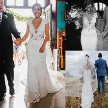 סקסי בת ים עמוק V צוואר תחרה חתונה שמלות ארוך ללא משענת טול הכלה שמלות נשים שרוולים כתרים לבן חתונה שמלה