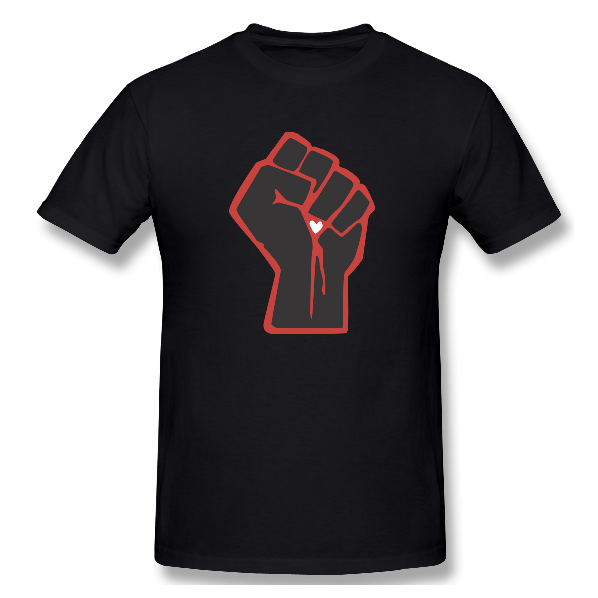 Casual Fashion T-Shirt Men's Cotton Short Sleeve Fist Love Heart Vector Black Red Fight Power Quality Male Tshirt Mens