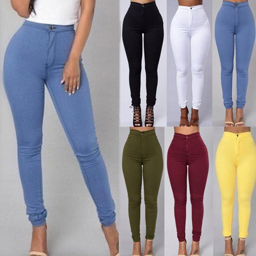 Fashion Women Solid Color Denim Tights Leggings Skinny Pencil Pants Slim Jeans