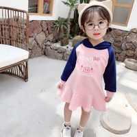 WLG dziewczyny słodkie sukienki dla dzieci jesień patchwork biały różowy cartoon świnia sukienka z nadrukiem baby girl odzież codzienna dzieci w wieku 1-6 lat