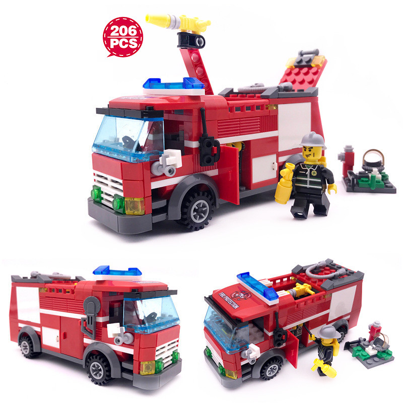 206 pcs Fire Truck Building Blocks DIY Action Figure Toys Gift For Kid