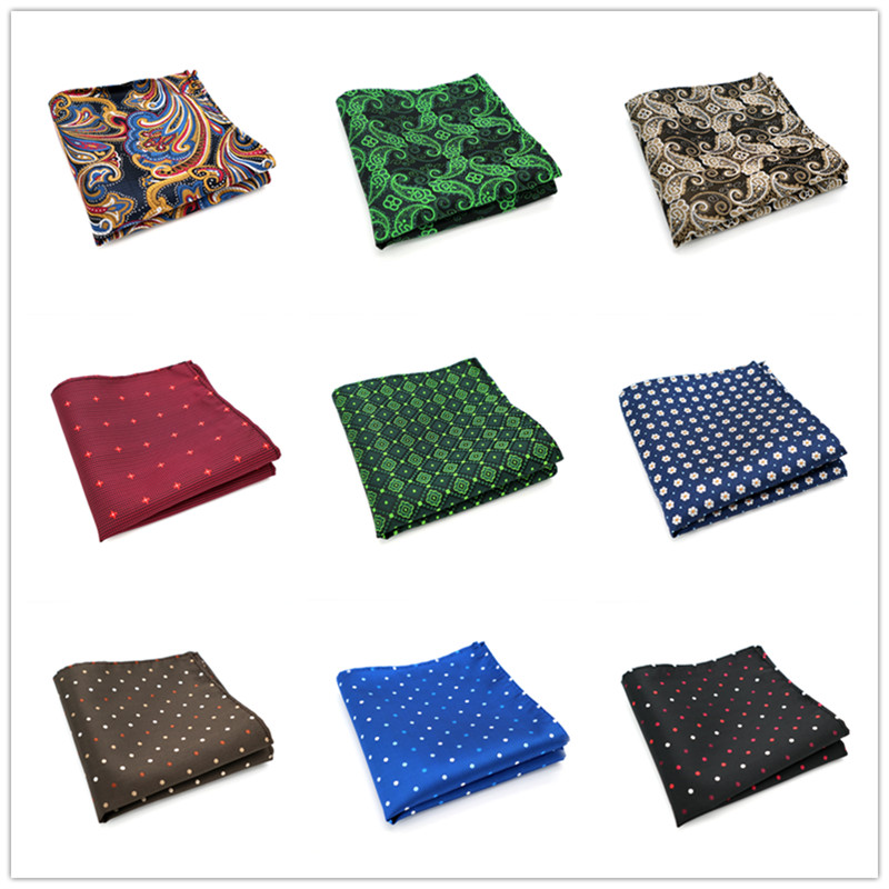 Men Handkerchief Silk 100% Woven Paisley Dots Pattern Men's Business Casual Square Pocket Handkerchief Wedding Hankies F80-100