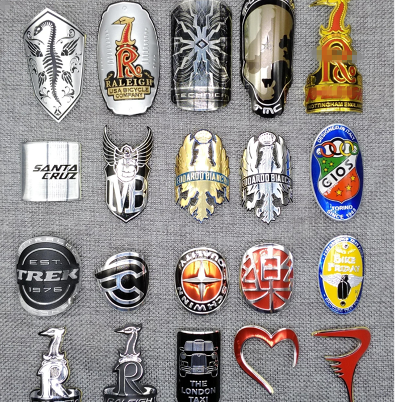 Alloy Head Badge Decals <font><b>Stickers</b></font> FOR BMX Bicycle Road <font><b>Bike</b></font> <font><b>Frame</b></font> Stem Front Fork Fixed Gear Tube DIY <font><b>protection</b></font> <font><b>Stickers</b></font> image