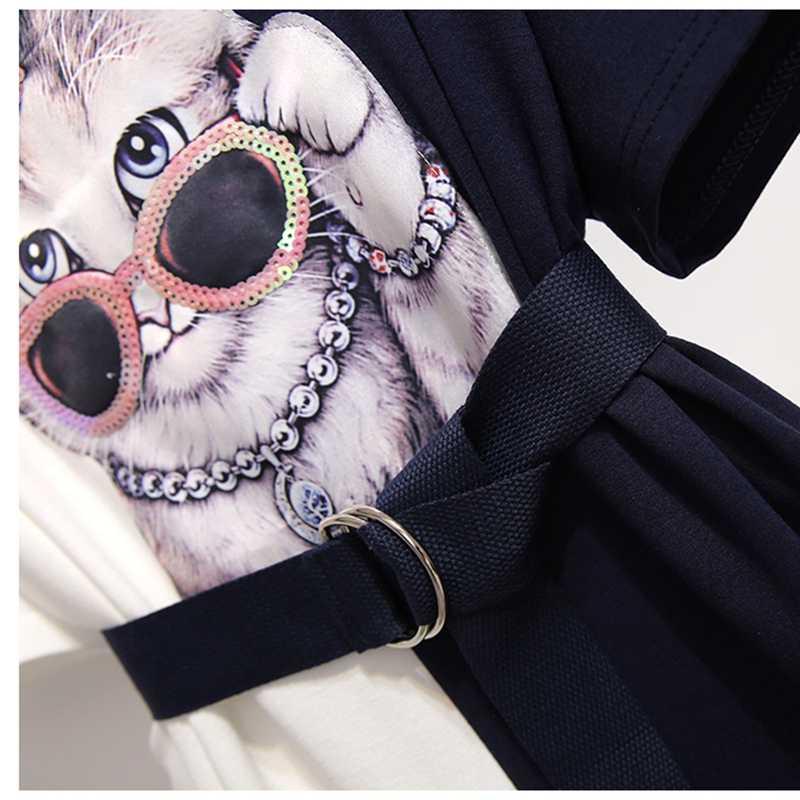 Plus Ukuran L-4XL Wanita Berpayet Kacamata Kucing Appliques Gaun 2020 Musim Panas Wanita O-Leher Lengan Pendek Tshirt Gaun dengan Ikat Pinggang