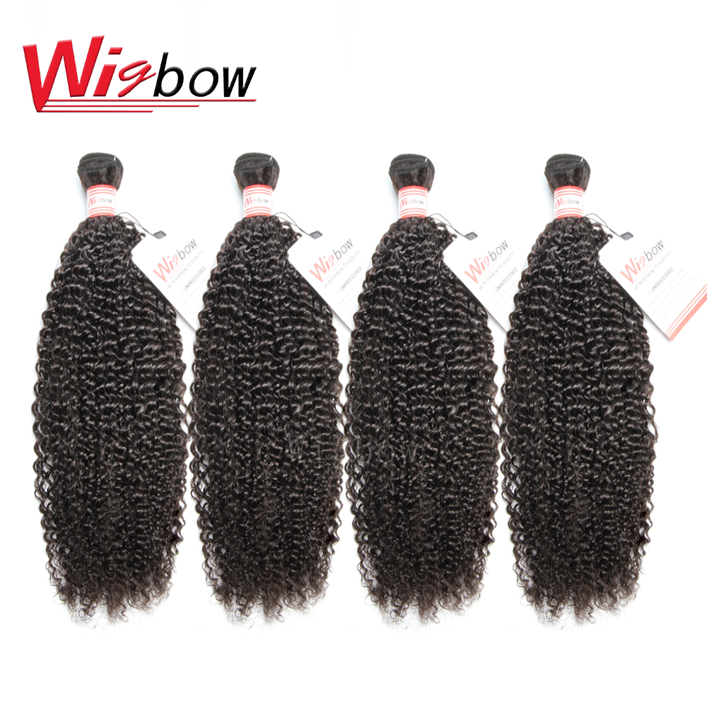 Wigbow OneCut Hair 8-26 28 30 Inch P Long Remy Peruvian Kinky Curly Human Hair Weave 4 Bundles Deal Natural Vendors