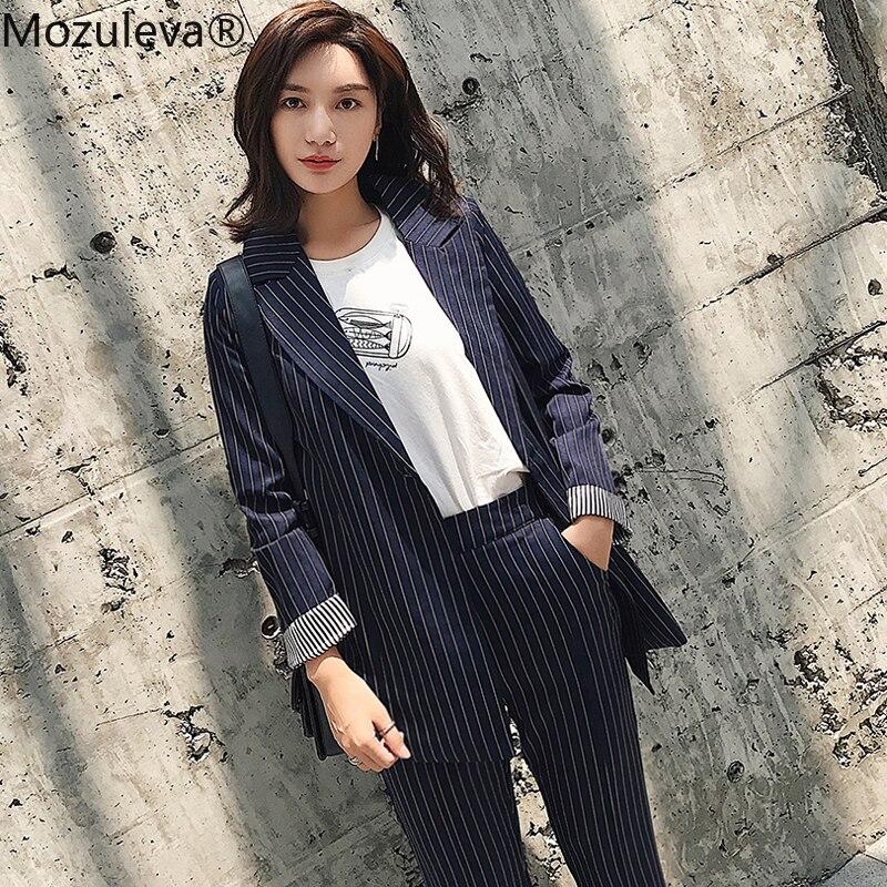 Mozuleva Casual 2 Pieces Set Striped Women Pant Suit One Button Notched Blazer & Elastic Waist Pencil Pant OL Style Female Suits