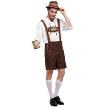 цена New Adult Men Superb Oktoberfest Beer Man Costume Cosplay Germany Beer Festival Suit Halloween Costume For Men онлайн в 2017 году