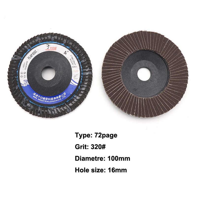 1pcs แผ่น 100 มม.4 นิ้วแผ่นขัด 60/80/120/240/320Grit บดล้อสำหรับเครื่องบดมุม 72 เม็ด